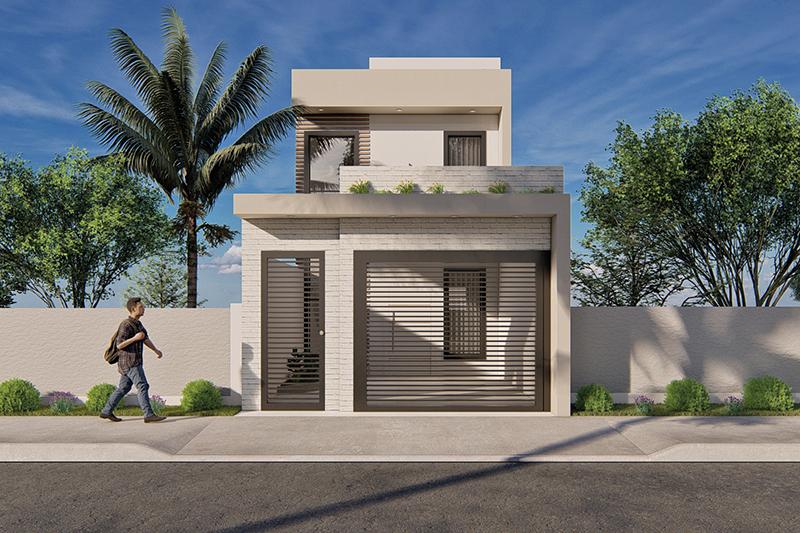 Planta de sobrado com 5 metros de frente projetos de for Casa moderna 2 andares 3 quartos