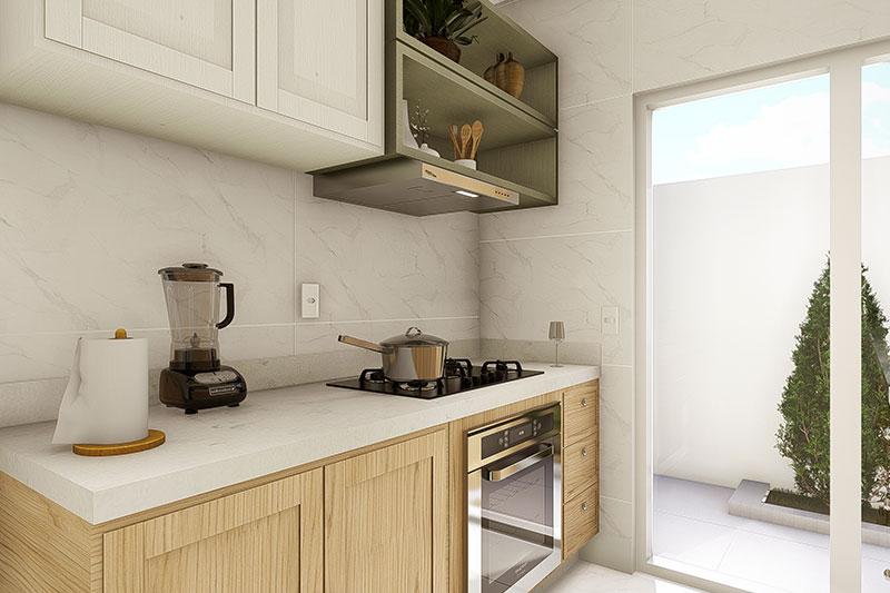 Cozinha com porta em Blindex