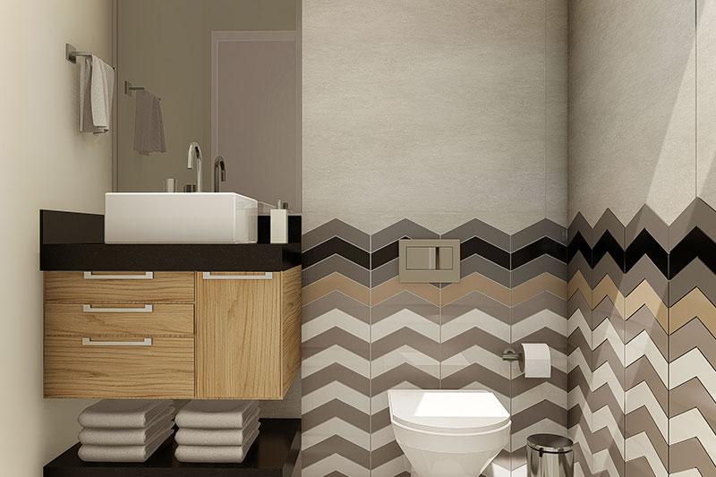 Banheiro com azulejo