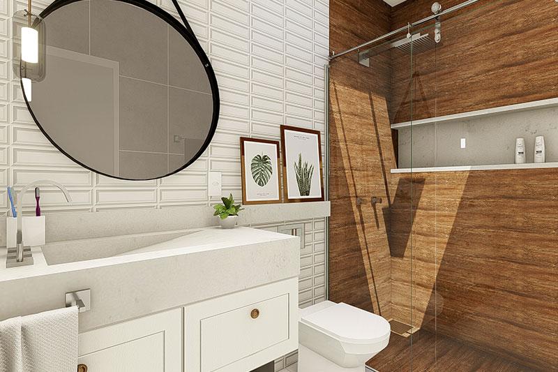 Banheiro com box em madeira