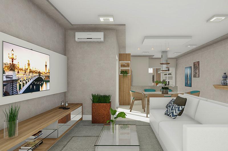 Sala com painel de TV decorada