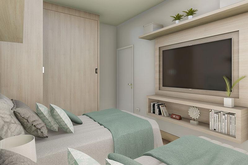 Quarto com duas camas e TV