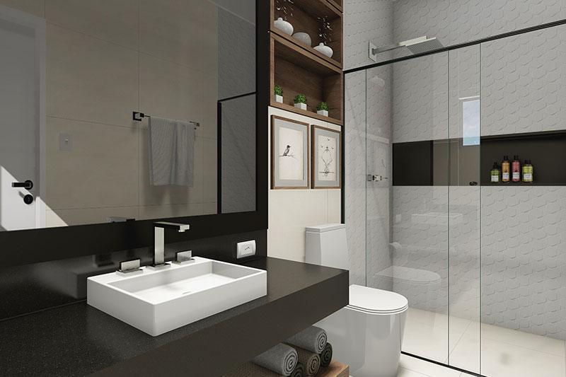 Banheiro com bancada grande preta