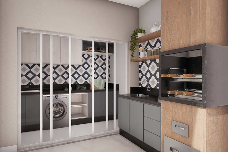 Lavanderia integrada com área gourmet
