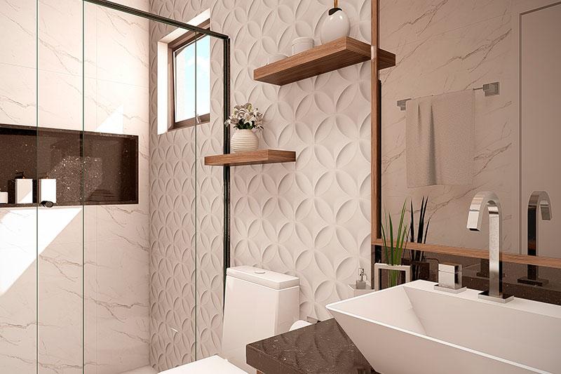 Banheiro com revestimento em 3D