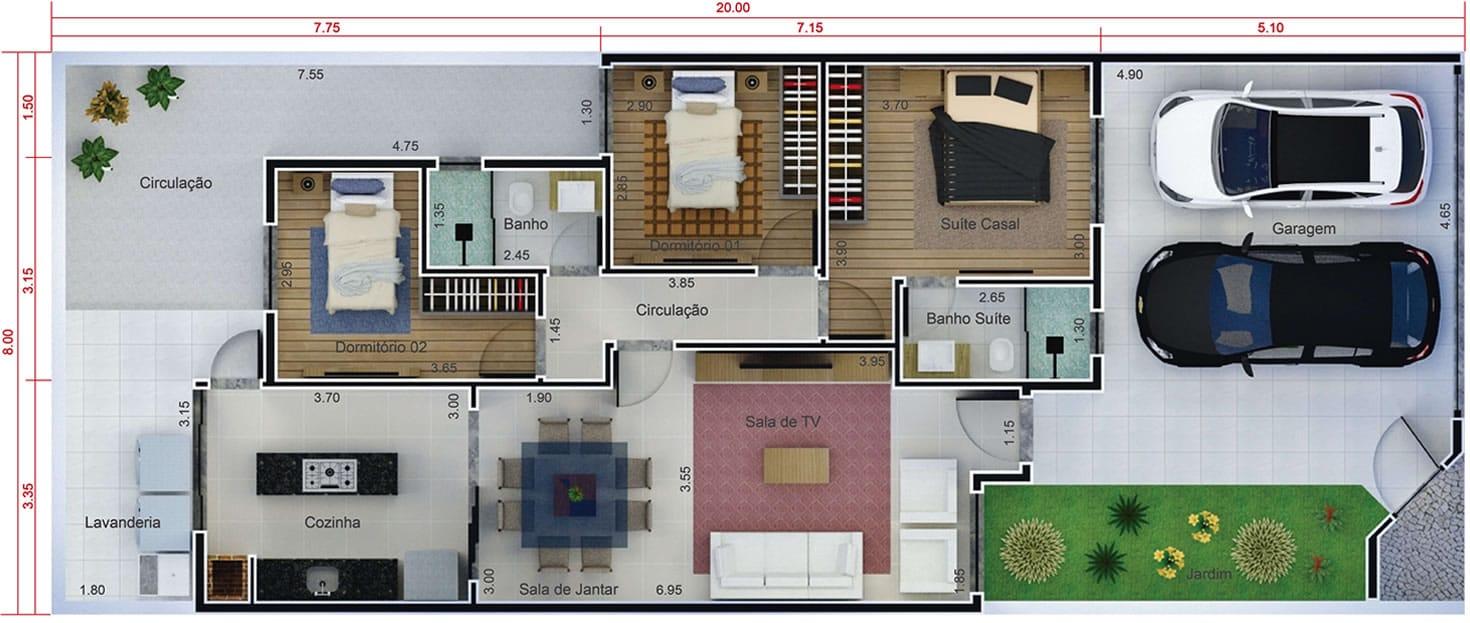 Projeto residencial com 3 quartos. Planta para terreno 8x20