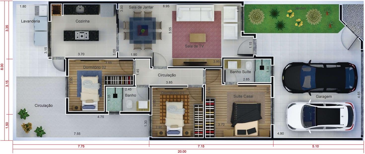 Projeto residencial com 3 quartos projetos de casas for Casa moderna 7x20