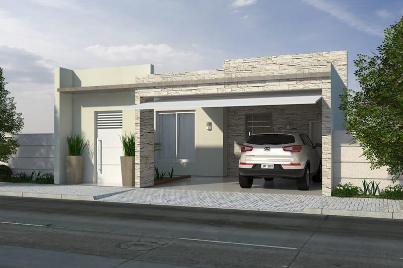 Fachada com revestimento e garagem