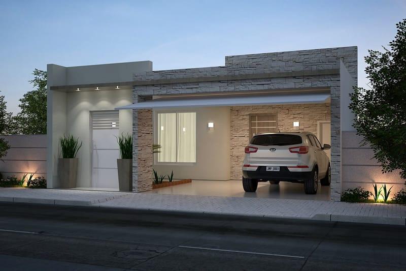 Planta de casa com cozinha americana projetos de casas for Fachadas de casas modernas con zaguan